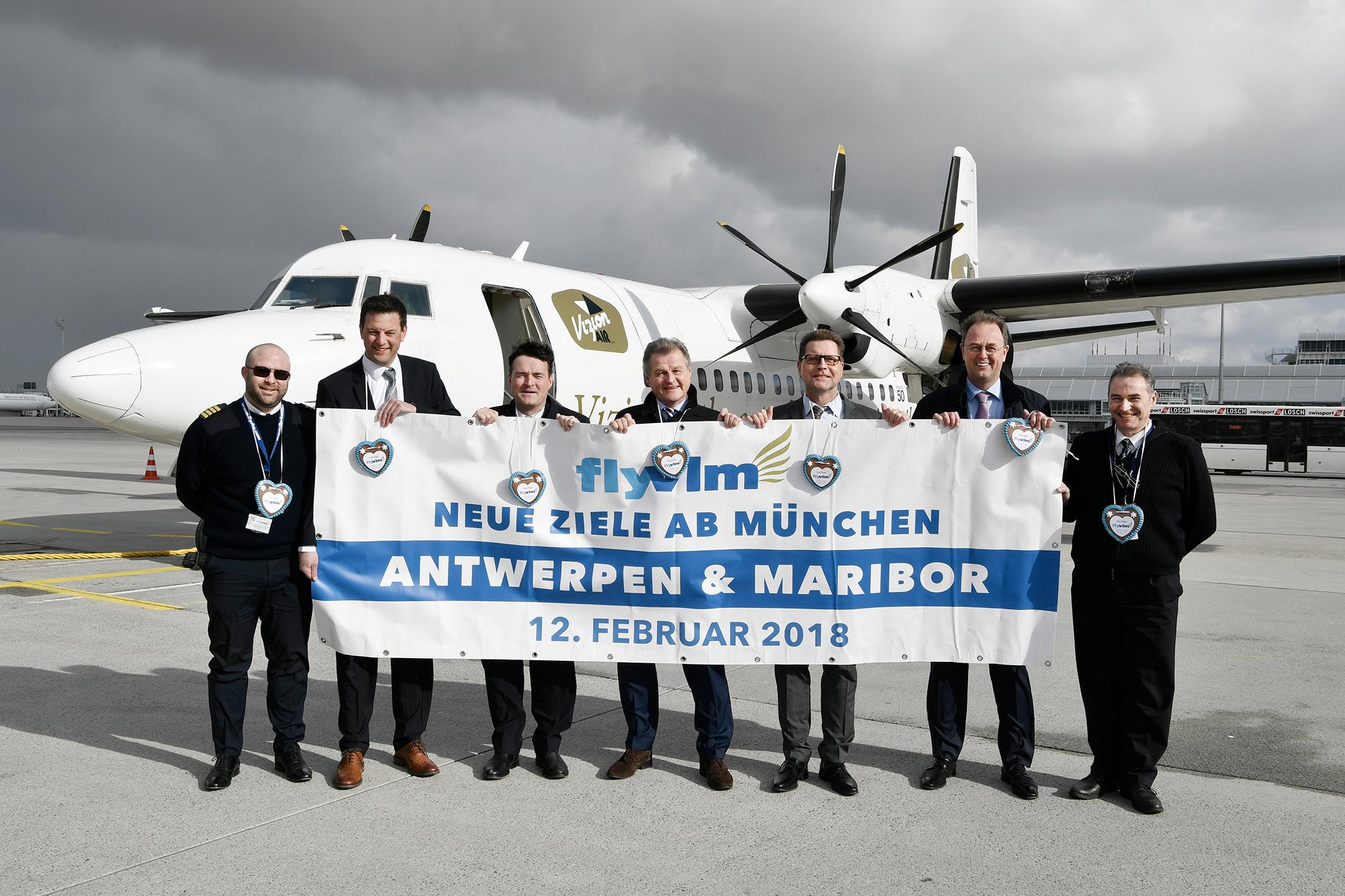 Premierenflüge von VLM Airlines von München nach Antwerpen und Maribor